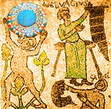 Mosaico di Otranto. Il Gigante Atlante che sostiene il mondo. E un altro Gigante, con un vessillo nella mano sinistra, che ri-chiama le statue giganti sopra la Basilica di San Pietro. In testa troneggia il nome del Demone Marbas (MARCUAGIUS) e Qli-poth SAMAEL (https://satanistilanostraverita.it/2020/08/02/marbas/)