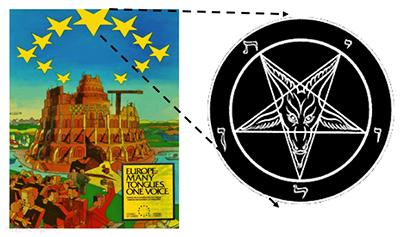 Il volantino pubblicitario dell'Europa Unita del 1999, poi censurato per i richiami satanici. Si noti la Torre di Ba-bele e le 13 stelle (i 13 Stati fondatori) a forma di testa di caprone (simbolo di supremazia satanica)