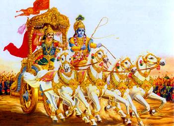 Arjuna e Krishna combattono insieme