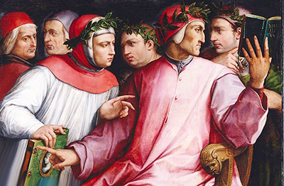 Giorgio Vasari «Sei poeti toscani illustri » (da sin.: Cristoforo Landino, Marsilio Ficino, Petrarca, Boccaccio, Dante, Guido Cavalcanti)