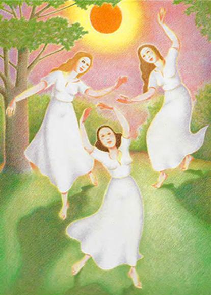 Alfredo Chiàppori «Tre ragazze danzano nel giardino della bella Lilia»