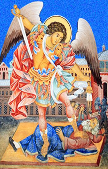 «San Michele» Monastero di Rila, Bulgaria Nell'affresco, il demonio sotto il piede dell'Arcangelo indossa le ricche vesti dell'usuraio.