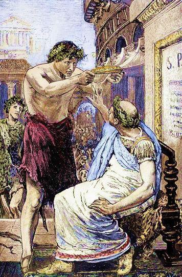 Durante i Lupercali del 44 a.C., Antonio pone la corona sul capo di Cesare, che la rifiuta per la terza volta