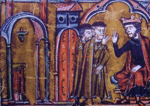 Re Baldovino II concede a Ugo de' Pagani e a Goffredo di Saint-Homer l'area del Tempio di Salomone compresi i suoi sotterranei