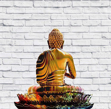 Buddha medita davanti a un muro