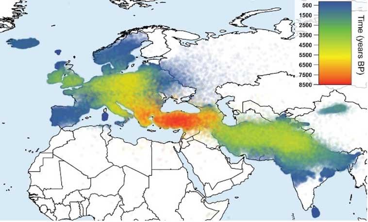 Diffusione dall'ottavo al primo millennio a.C. dei ceppi linguistici indoeuropei