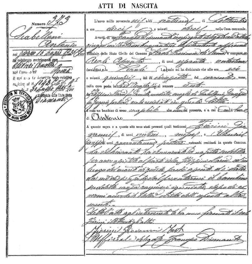Certificato di nascita Massimo Scaligero