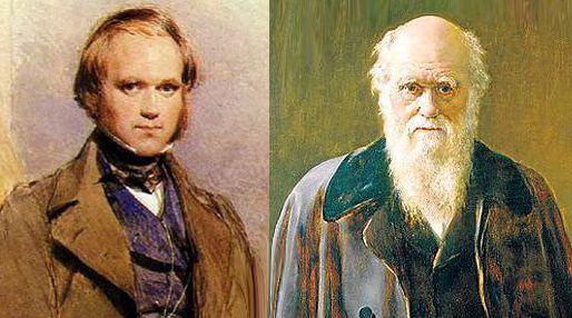 Ritratto di Charles Darwin da giovane e da anziano