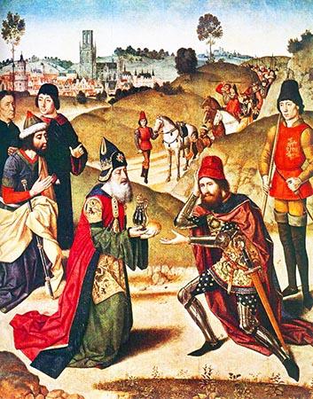 Dirk Bouts «L'incontro tra il patriarca Abramo e Melchisedec»