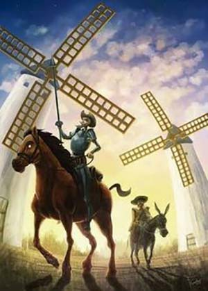 Don Chisciotte contro i mulini a vento