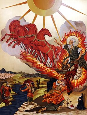 «Elia sul carro di fuoco» Icona bizantina