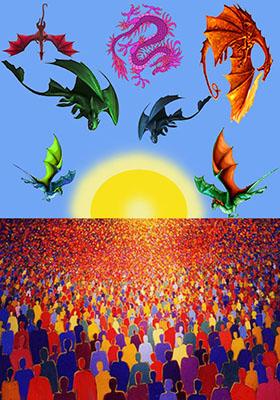 Folla con draghi