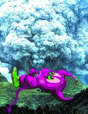 Dabliu che soffia il fumo del Pinatubo