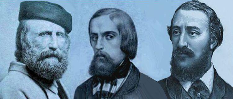 Giuseppe Garibaldi, Goffredo Mameli e Carlo Pisacane