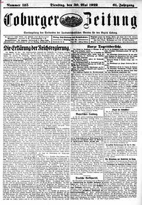 Un giornale tedesco del 1922