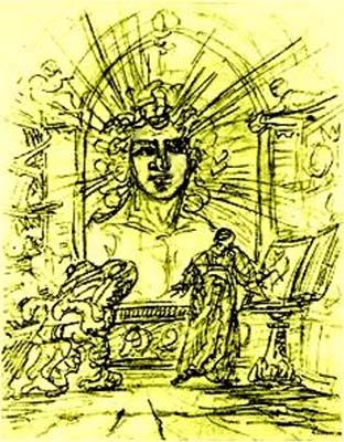 Evocazione dello Spirito della Terra disegno di Johann Wolfgang von Goethe