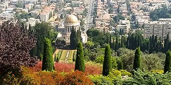 Il tempio Baha'i con i giardini