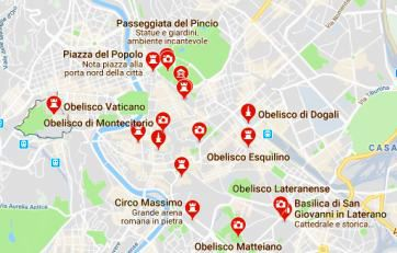 I diciotto obelischi di Roma