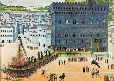 Il rogo di Girolamo Savonarola e di due suoi confratelli a Piazza della Signoria a Firenze