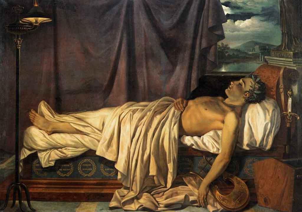 Joseph-Denis Odevaere «Lord Byron sul letto di morte»