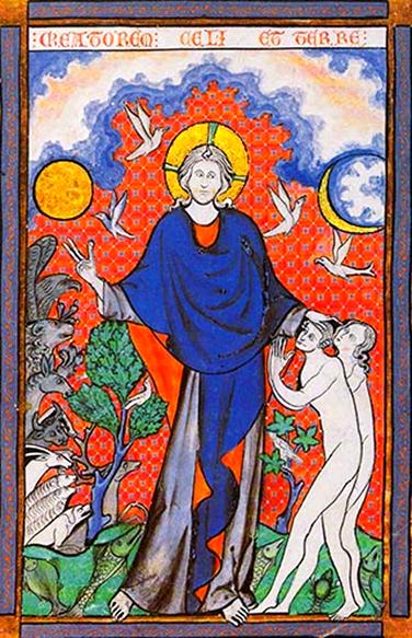«La creazione» miniatura dal messale di Reims