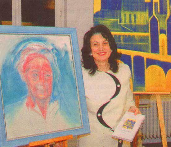 Letizia Mancino con il ritratto della poetessa Hilde Domin