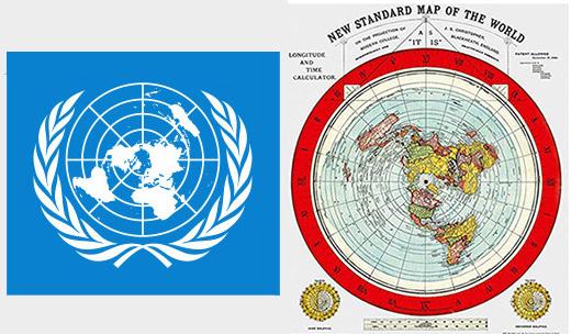 Logo Nazioni Unite e Mappa Terra piatta