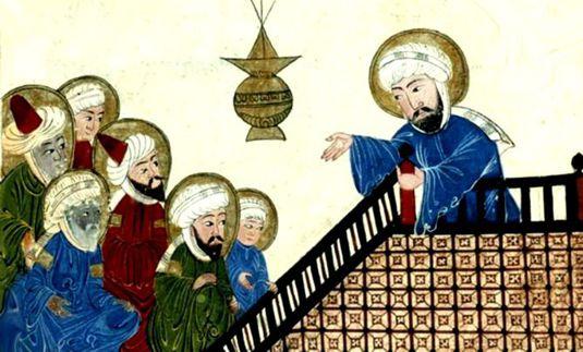 «Maometto insegna ad alcuni discepoli» – Miniatura del XVI secolo
