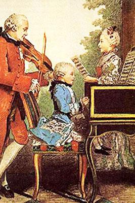 Mozart bambino accompagnato dal padre e dalla sorella