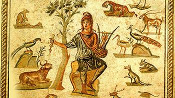 «Orfeo incanta le creature» Mosaico pavimentale romano, Palermo