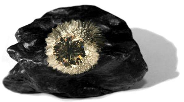 Pietra nera con diamante