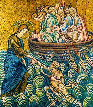 Pietro salvato dalle acque – Mosaico del Duomo di Monreale, Palermo