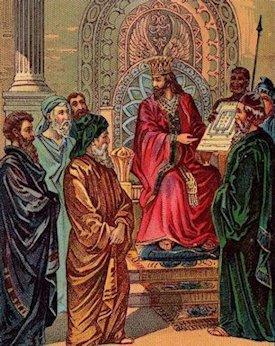Il re Salomone esamina il progetto per la costruzione del Tempio