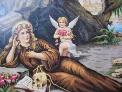La giovane Rosalia raffigurata nella grotta dove trascorse il suo ascetico eremitaggio