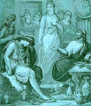 Telemaco piange davanti a Menelao ed Elena