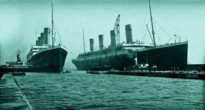 L'Olympie e il Titanic durante la loro costruzione