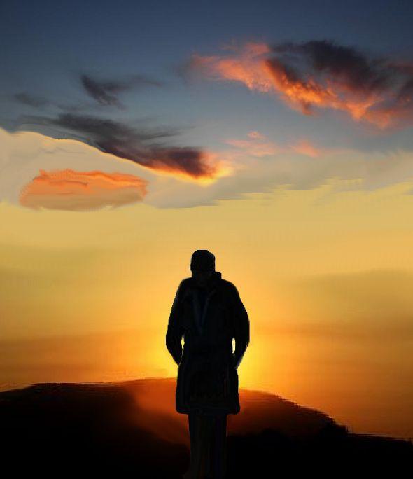 Uomo al tramonto