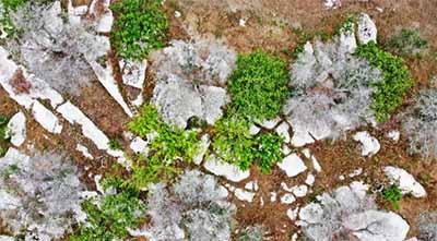 Vista aerea realizzata con drone dei Massi della Vecchia
