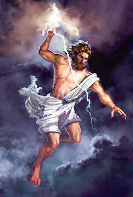 Zeus armato di saette