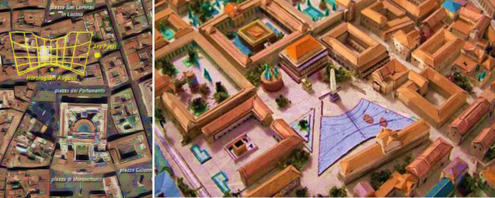 A sinistra foto dall'alto che raffigura l'orologio solare in giallo nei pressi di Montecito-rio A destra ricostruzione di Roma nel 10 d.C. – Piazza di Campo di Marzio con l'immenso orologio solare di Augusto