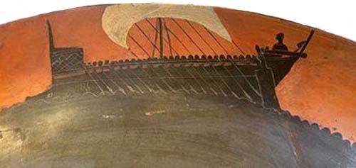 Pentecontera dipinta su una coppa